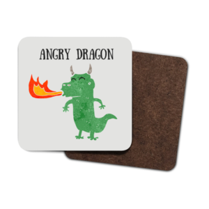 A set of four coasters with a cartoon dragon. The words Angry Dragon also appear.