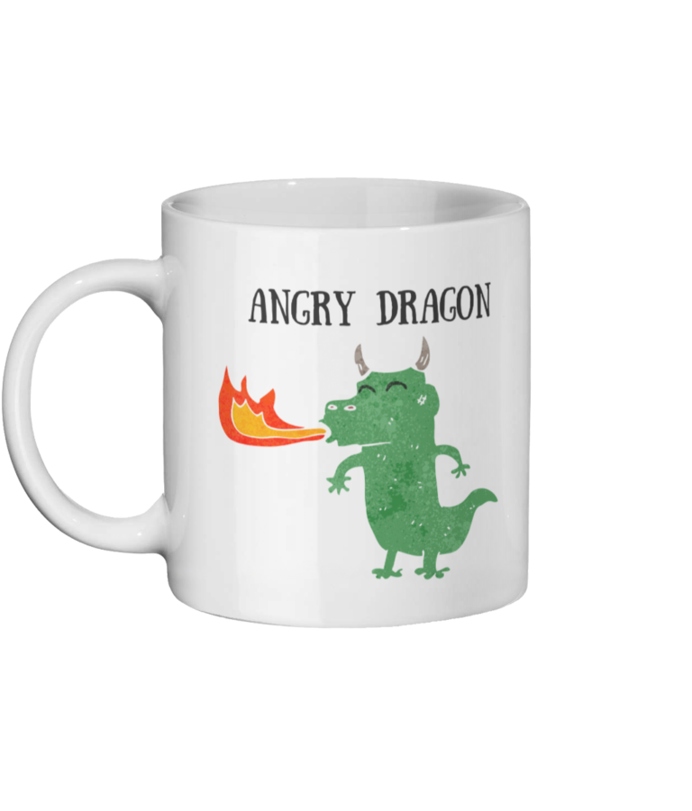 its a mug with a dragon on it blowing out fire