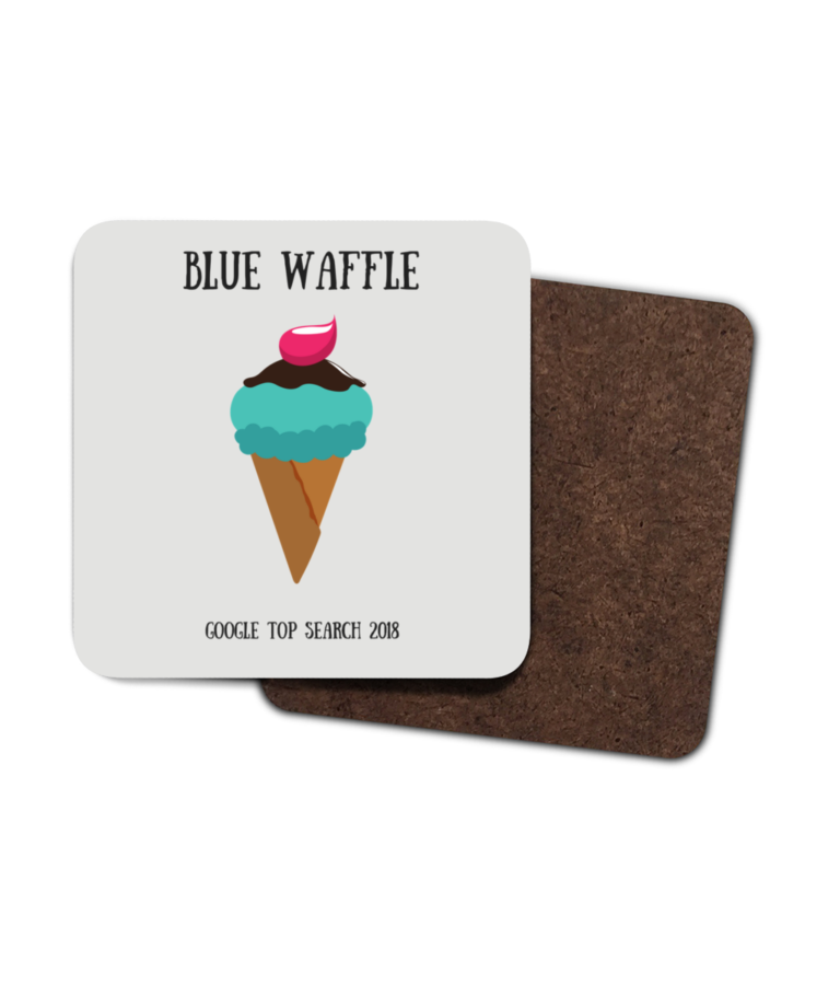 Blue Waffle 4 Pack Hardboard Coasters front