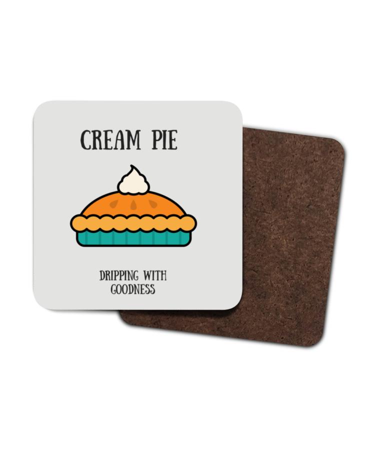 Cream Pie 4 Pack Hardboard Coasters front