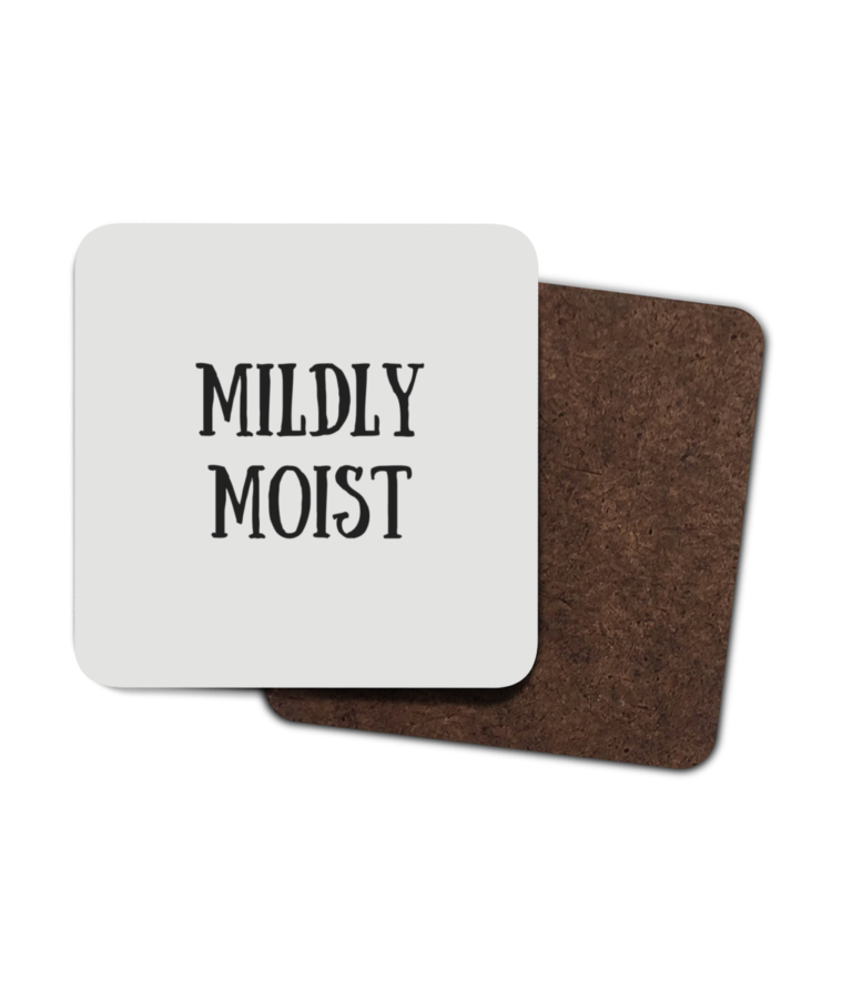 Mildly Moist 4 Pack Hardboard Coasters front