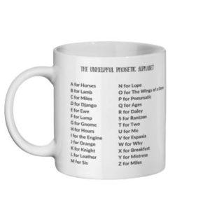 unhelpful phonetic alphabet mug